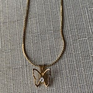 Halo Diamond Butterfly Necklace In Box Vintage